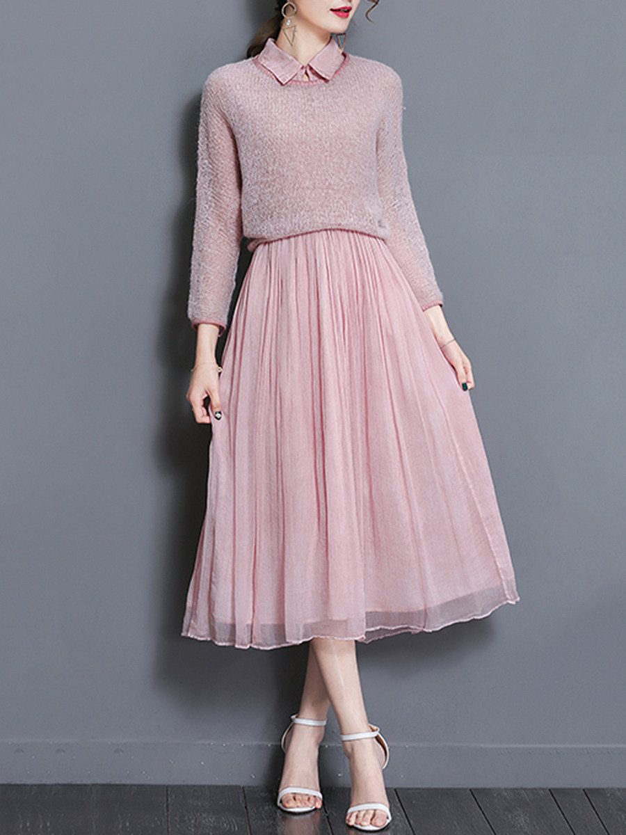 Solid Knitted Top And Doll Collar Maxi Dress