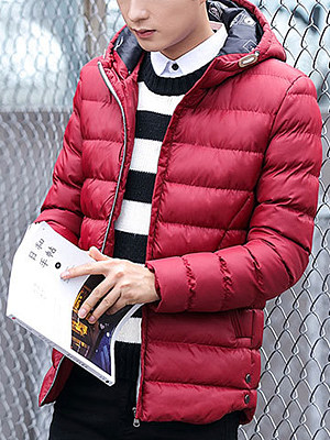Men Solid Hooded Pocket Quilted Padded Coat фото