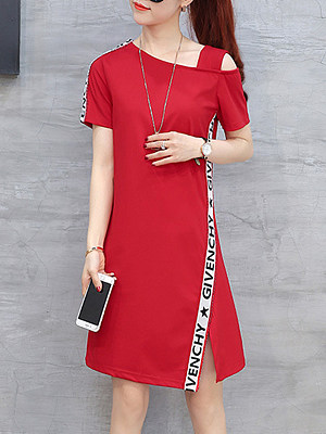 Asymmetric Neck  Side Slit  Letters Shift Dress