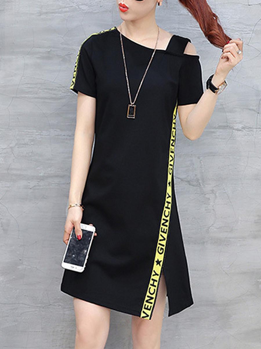 Asymmetric Neck  Side Slit  Letters Shift Dress