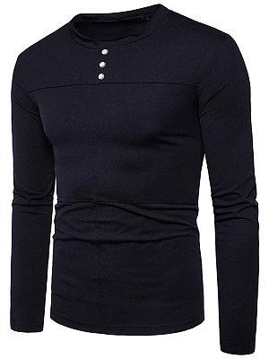 Crew Neck  Decorative Button  Plain Men T-Shirt