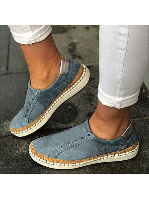 Plain Flat Round Toe Casual Travel Flat & Loafers, 7155703