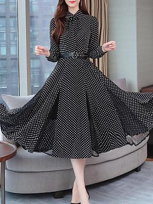 Tie Collar Polka Dot Maxi Dress, 8530114