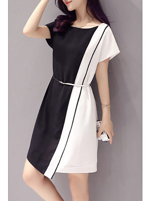 Round Neck Asymmetric Hem Patchwork Belt Plain Casual Dresses, 4276016
