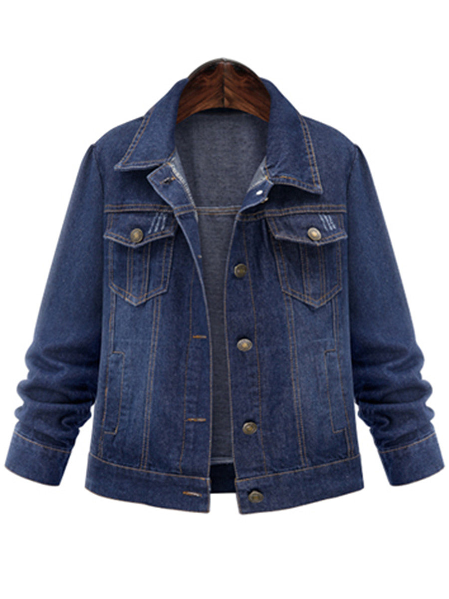BerryLook Denim Flap Pocket Single Breasted Light Wash Jacket
