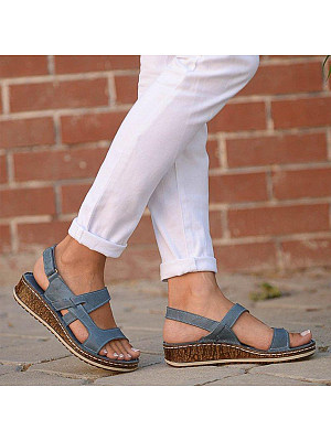 Plain Peep Toe Casual Travel Wedge Sandals, 7229101