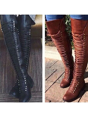 BERRYLOOK / Plain  Flat  Round Toe  Date Outdoor  Thigh High Flat Boots