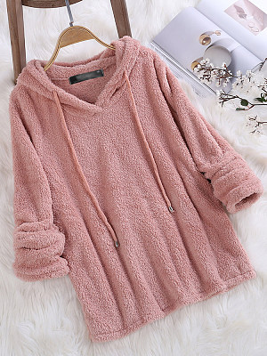 Hooded  Plain Hoodie collar_&_neckline:hooded, material:blend, occasion:casual, package_included:top*1, pattern_type:plain, season:autumn,spring,winter, style:casual, length:68,shoulder:45,sleeve length:62,bust:114,