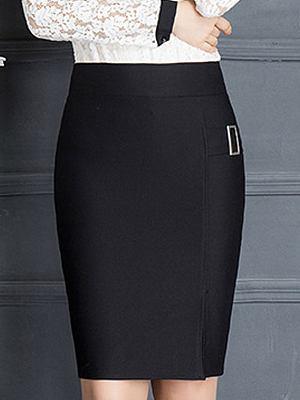 Lightweight High Stretch Plain Pencil Maxi Skirts, 4521077