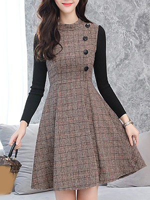 Round Neck Patchwork Single Breasted Plaid Skater Dress фото
