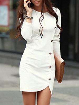 Round Neck Single Breasted Slit Plain Bodycon Dress, 9474317