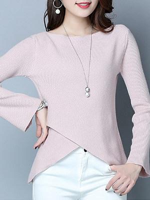 Round Neck Asymmetric Hem Plain Long Sleeve Sweaters Pullover