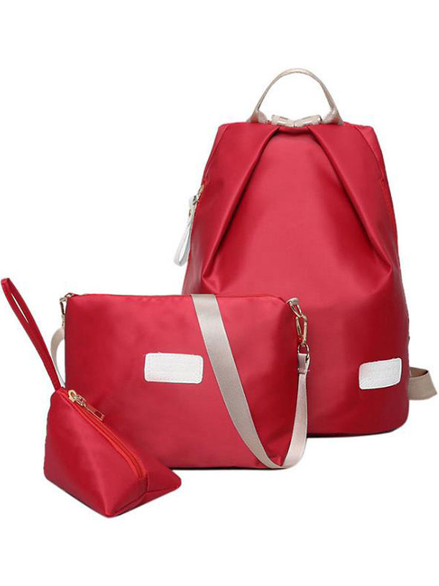 Three Pieces Plain Backpacks For Women