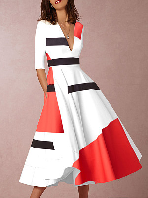 V-Neck  Abstract Print Geometric Printed Skater Dress