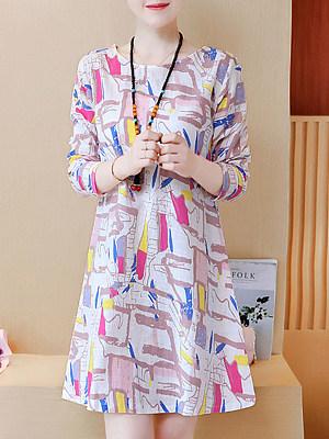 Round Neck Print Shift Dress, 5165681
