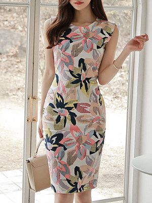 Round Neck Floral Printed Bodycon Dress фото