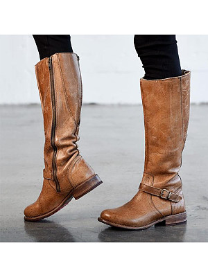 Plain  Flat  Round Toe  Date Outdoor  Knee High Flat Boots boot_style:knee high, heel_height:flat, occasion:date,outdoor, package_included:1 * pair of shoes, pattern_type:plain, season:autumn,winter, toe:round toe, upper_material:pu, length:22.5,:23,