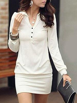 V-Neck Single Breasted Plain Bodycon Dress, 9474297