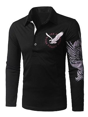 Polo Collar Eagle Printed Men T-Shirt
