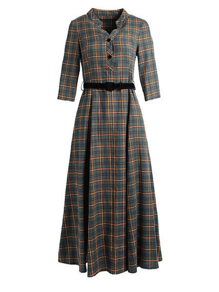 V Neck Single Breasted Checkered Maxi Dress