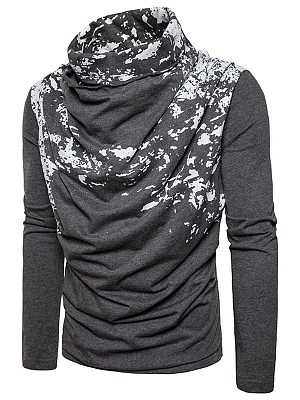 Designed Cowl Neck Men Abstract Print T-Shirt фото
