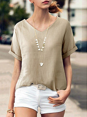 Summer Linen Women V-Neck Plain Short Sleeve Blouses фото