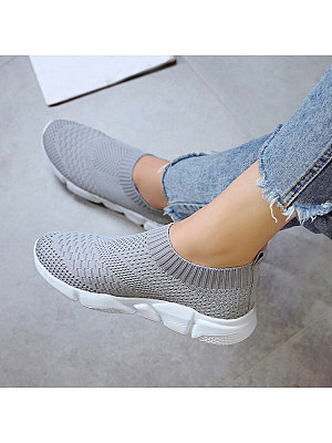 Plain Flat Round Toe Casual Travel Sneakers, 7069774