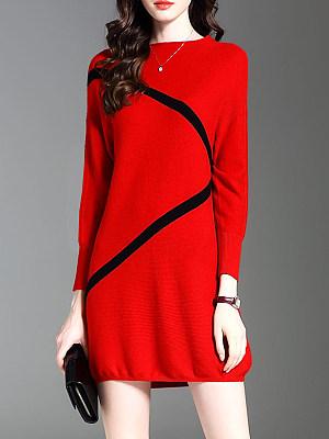 Round Neck Color Block Shift Dress, 5175433