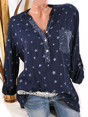 Band Collar Loose Fitting Star Long Sleeve T-Shirts