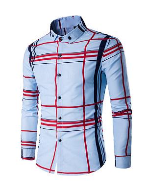 Collar Color Block Plaid Men Shirt