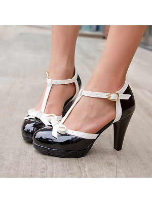 Women's hit color round toe high heels фото