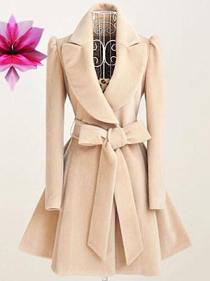 Lapel  Belt  Plain Coat