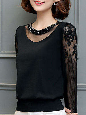 Autumn Spring Chiffon Women Round Neck Beading Decorative Lace See-Through Plain Long Sleeve Blouses, 4279790