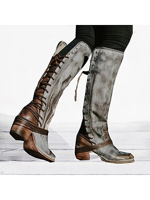 berrylook Plain Round Toe Casual Outdoor Knee High High Heels Boots