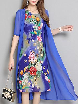 Round Neck Asymmetric Hem Floral Printed Maxi Dress