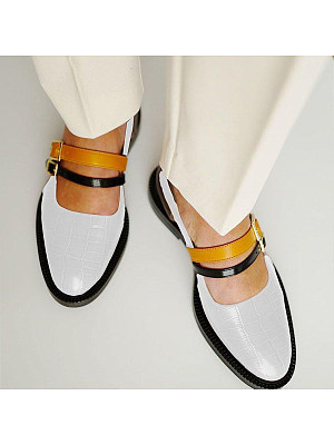 Color Block Flat Round Toe Date Travel Flat & Loafers, 7224549