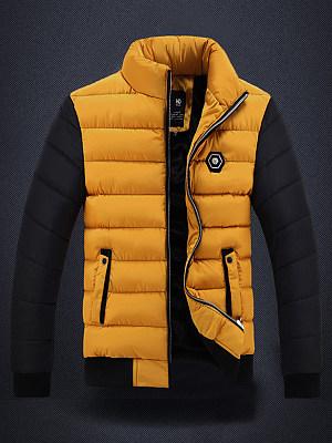 High Neck Quilted Color Block Fleece Lined Men Coat