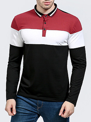 Polo Collar Color Block Striped Men T-Shirt фото