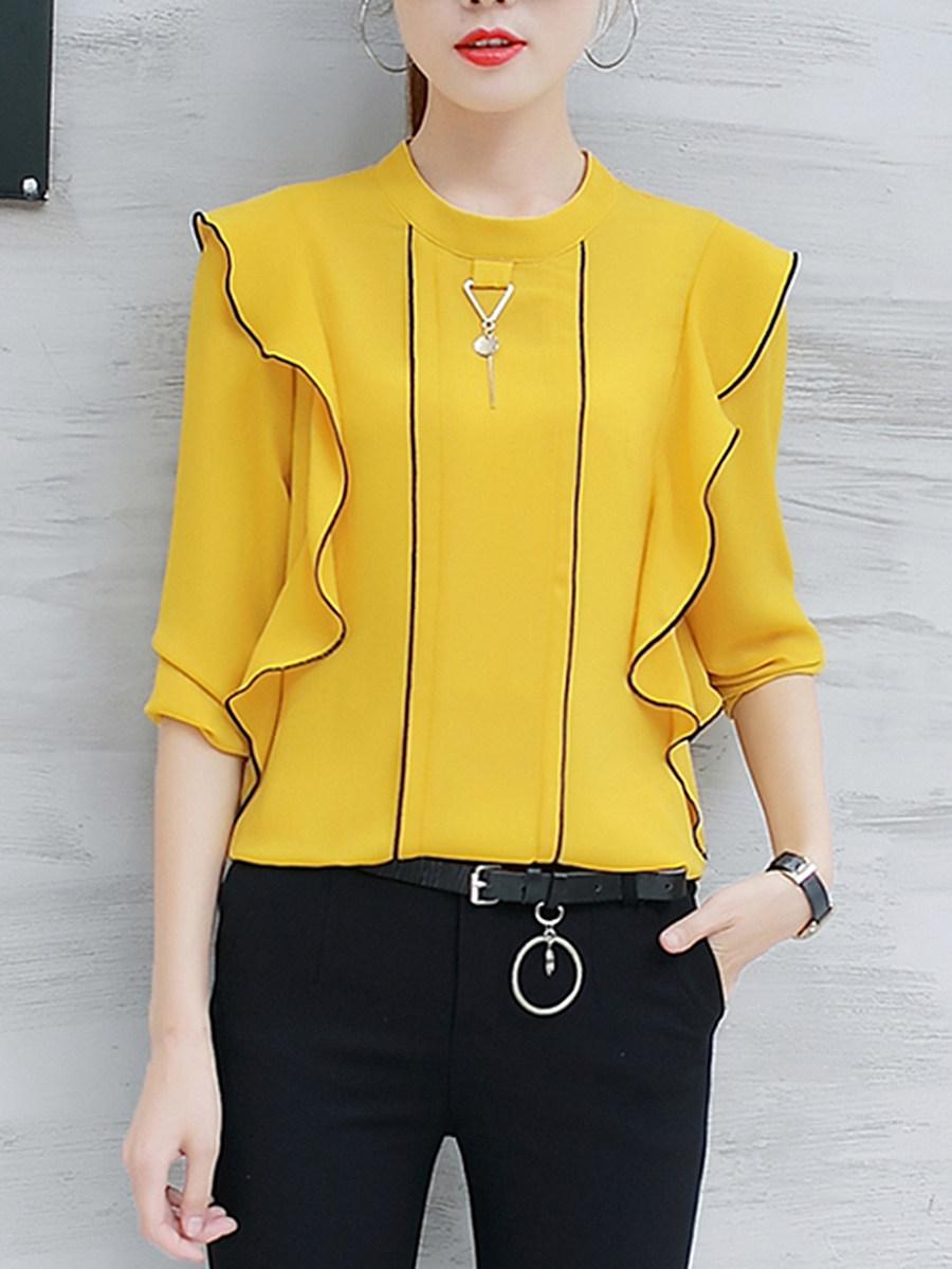 BerryLook Band Collar Contrast Trim Flounce Long Sleeve T-Shirt