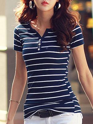 Summer  Cotton  Women  V-Neck  Decorative Button  Striped Short Sleeve T-Shirts