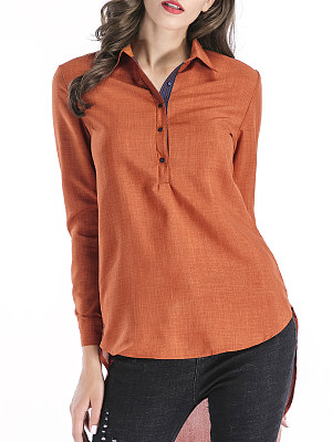 Autumn Spring Polyester Women Turn Down Collar Asymmetric Hem Decorative Button Plain Long Sleeve Blouses