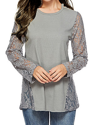 Round Neck Patchwork Elegant Lace Plain Long Sleeve T-Shirt, 8322812