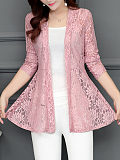 Collarless Lace See-Through Plain Cardigan - $20.95