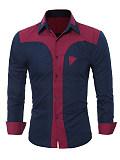 Image of Turn Down Collar Color Block Men Long Sleeve Shirts