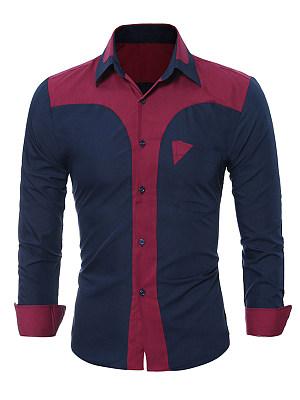 Turn Down Collar  Color Block Men Long Sleeve Shirts