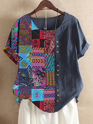 Round Neck Patchwork Bohemian Printed Short Sleeve T-Shirt фото