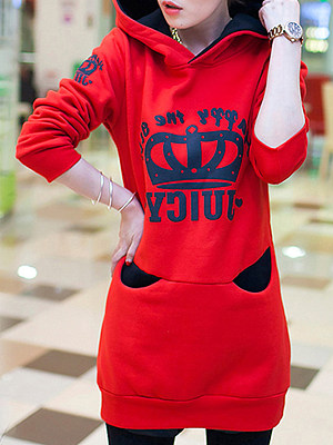Longline Color Block Printed Pocket Hoodie gender:woman, season:autumn,spring, collar:sweater with hood, material:polyester, pattern_type:letter printing, sleeve_length_1:long sleeve, style:leisure,