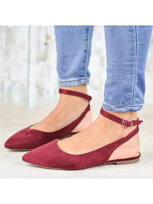Plain Flat Velvet Ankle Strap Point Toe Date Office Comfort Flats, 6935841