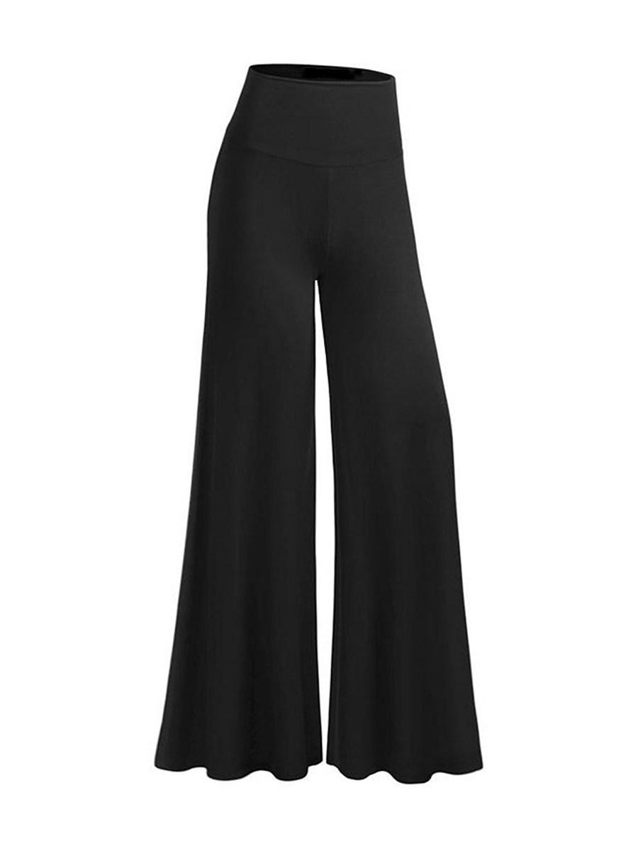 Casual Plain Flared  High-Rise Casual Pants