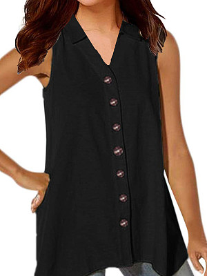 Turn Down Collar Single Breasted Plain Blouses, 7454554